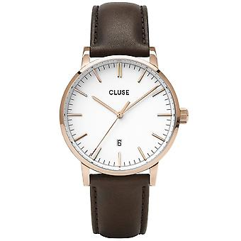 Cluse Watches Cw0101501002 Aravis White Dial, Rose Gold & Dark Brown Leather Men's Watch