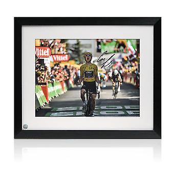 Geraint Thomas signiert Tour de France Foto: Alpe D'Huez Finishing Line Framed