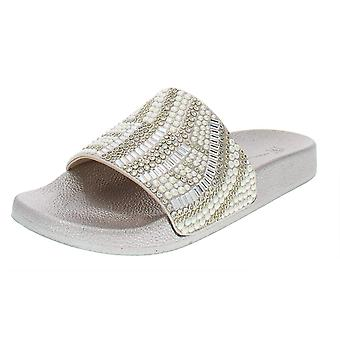 INC Womens Peymin 9 Faux Leather Embellished Slide Sandals