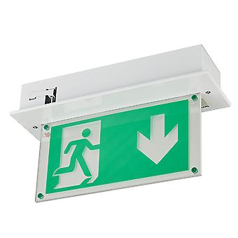 LED Emergency Fire Exit Sign Recessed Fitting Ceiling Mounted - Maintained