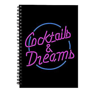 Cocktail Cocktails And Dreams Neon Sign Spiral Notebook