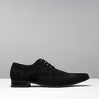 Mister Carlo Salvatore Mens Pointed Faux Suede Shoes Black