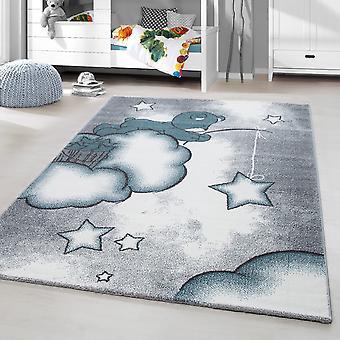 ShortFlor Kids Carpet Bears Wolken Kinderkamer Baby Room Rug Grijs Blauw