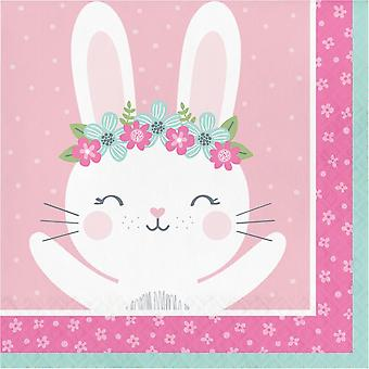 Birthday Bunny Paper Party Napkins x 16 2-ply