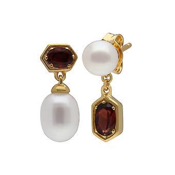 Moderne Perle & Granat nicht übereinstimmende Tropfen Ohrringe in vergoldeten Sterling Silber 270E030207925