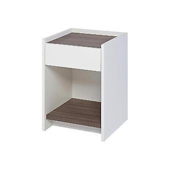 Gillmore Matt White And Walnut Laminated Contemporary Bedside Unit