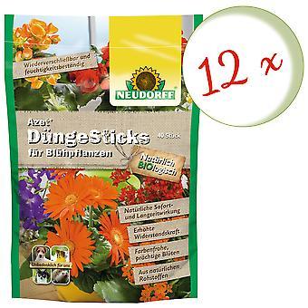 Sparset: 12 x NEWDORFF Azet® FertilizerSauvat kukintakasveihin, 40 tikkua