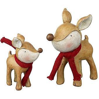 Mummy And Baby Reindeer Figures (Set Of 2)