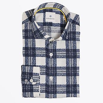 الصناعة الزرقاء - قميص مُدقق - بحري / أبيض