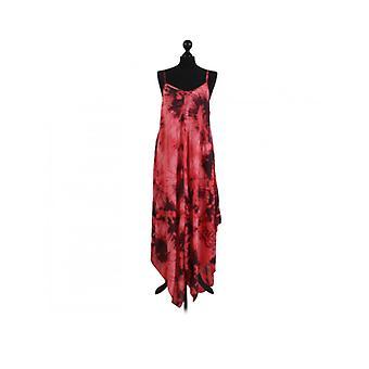 Womens Fossil Print Hanky Hem Dress | Coral | One Size