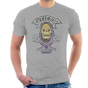 Masters Of The Universe Distressed Skeletor Skull And Cross Staves Men's T-Shirt