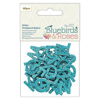 Papermania Bluebirds & Ruusut Glitter Lastulevy Alphas (60kpl) (PMA 355120)