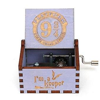 Platforma 9 3/4 King's Cross London Hand Crank 18 Tones Wooden Music Box - Harry Potter Collectible