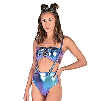 iHeartRaves Magical Journey Blue Holographic Suspender Booty Shorts (Medium)