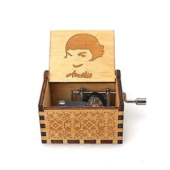 Amelie Engraved Hand Crank 18 Tones Wooden Music Box