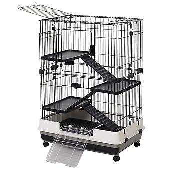 Pawhut 3 Tier Rolling Small Animal Rabbit Cage Guinea Pig Chinchillas Hutch Pet Play House with Platform Ramp Removable Tray 81.2 x 52.7 x 110 cm