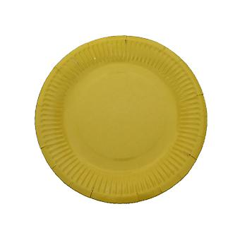 10PCS 7 Inch Solid Color Circle Tray Yellow