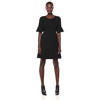 Lark & Ro Women's Ruffle Sleeve Fit and Flare Dress, Black, 4