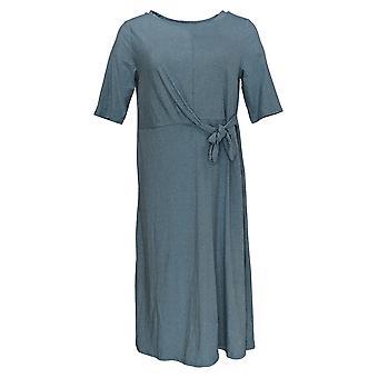 Cuddl Duds Dress Flexwear Draped Tie Front Dress Heather Blue A373515