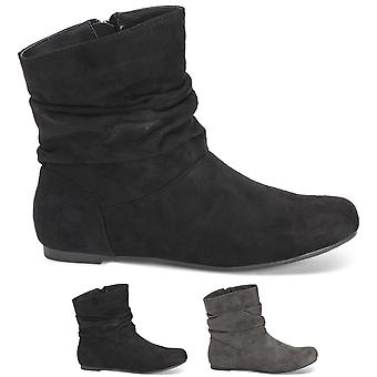Womens Slouch Fashion Flat Winter Closed Toe Biker Pull On Ankle Boots UK 3-10