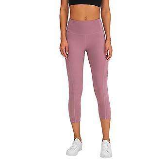 Kvinnor Yoga Capris Mitten upphov fickor Dot Detaljer Sport Crop Leggings