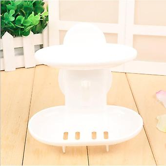 Double Layers Home, Bathroom Soap Dishes Holder Rack, Strong Suction Cup Type,