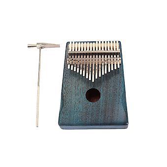 17 Key Mahogany Metal Kalimba Finger Thumb Piano Craft Blue