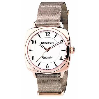 Briston Clubmaster Chic 3 Hand Watch - Taupe/White/Rose Gold