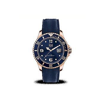 ساعة آيس ووتش - ساعة اليد - رجال - ICE Steel - أزرق وردة - ذهب - كبير - 3H - 017665