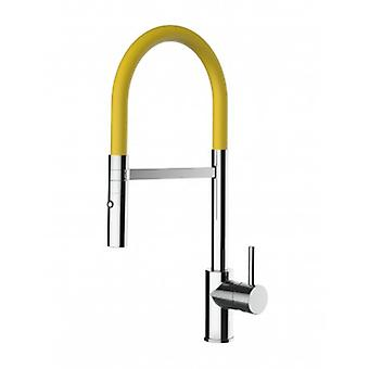 Kitchen Single-lever Sink Mixer With Yellow Movable Spout And 2 Jets Shower - Low Version 43 Cm - 553