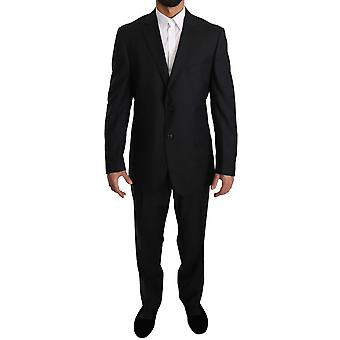 Z ZEGNA Gray Solid Two Piece 2 Button Wool Suit