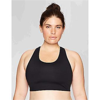 Core 10 Women's Icon Series - The Track Star Plus Size Sports Bra, Black/Grey/White, 1X