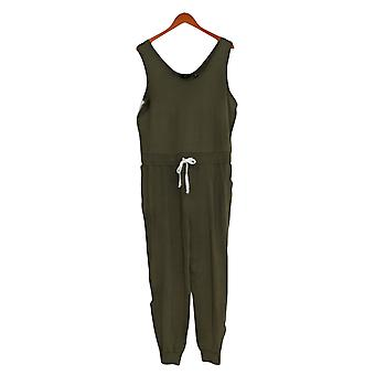 G by Giuliana Jumpsuits French Terry Jogger One-Piece Green 694-912
