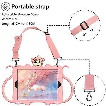 For iPad 9.7 (2017) Cartoon Monkey Kids Tablet Shockproof EVA Protective Case with Holder & Shoulder Strap & Handle(Rose Gold)