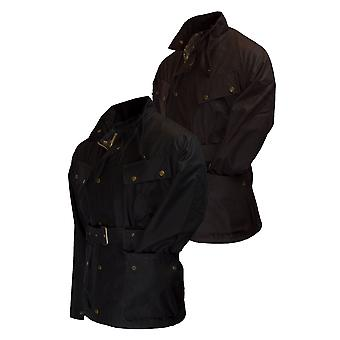 Walker and Hawkes - Mens Belted Waxed 4 Pocket Motorcycle Explorer Jacket