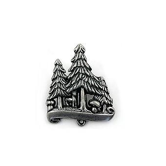 Brooch 3 Conifers Antique Silver
