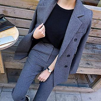 Business Pant Suits, Uniform Formal Double Breasted Jacket And Long Pant Blazer