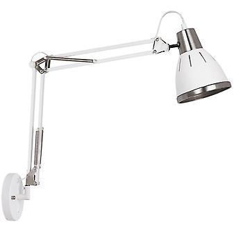 Industriële en retro dome wandlamp wit 1 licht met stalen kap, E27