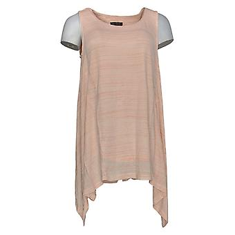 H par Halston Women-apos;s Top Striped Scoop-Neck Mouchoir Hem Pink A305343