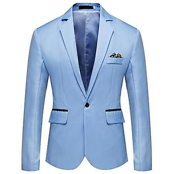 Homme Slim Fit Office Blazer Jacket, Solid Mens Suit Wedding Dress Coat