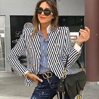 المرأة مخطط طويل الأكمام سترة معطف