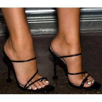 Women High Heels Flip Flops Square Toe Slides Party Shoes