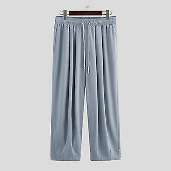 Homens calças de perna larga, cordão joggers bolsos simples, calças casuais, homens