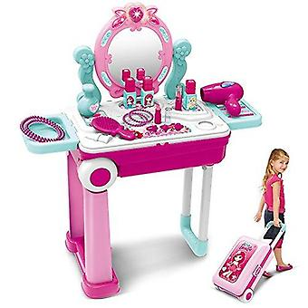 Pretend play makeup toy set beauty princess dressing table and suitcase 2 in 1 gift for kids girls c
