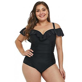 Ruched Ruffle Plus Size One Piece Swimsuit