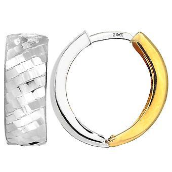 ك 14 الذهب الأبيض الأصفر قطع اثنين من لهجة سنوجابل أقراط الماس، قطرها 15 ملم