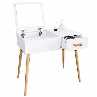 Puinen pukeutumispöytä - kokoontaitettava peili - valkoinen - 80x44x75 cm