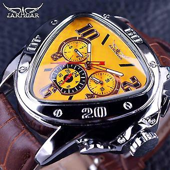 Racing Design Geometric Triangle Pilot Genuine Leather Men Mechanical Watch,