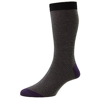 Pantherella Petworth Pique Contrast Heel and Toe Fil D'Ecosse Socks - Black