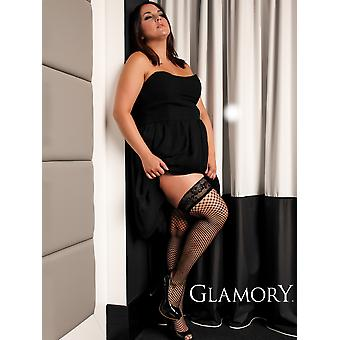 Glamory Mesh Net Lace Top Hold Ups